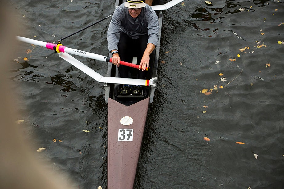 Rowers from crew teams around the world practice along the Charles River in preparation for the Head of the Charles Regatta. Stephanie Mitchell/Harvard Staff Photographer