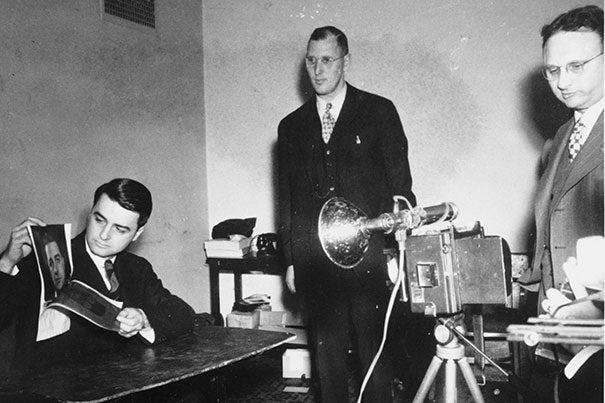 April 1947, Edwin H. Land demonstrating the Polaroid Land Camera's instant film.