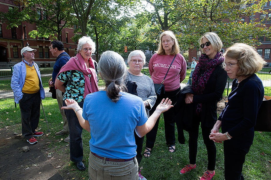Patricia Capone (back to camera) explains to alums how the Harvard Yard Archaeology Project explores the University's early days and mission.