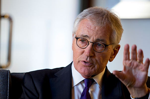 """""""Politics is still a noble business,"""" said former U.S. Secretary of Defense Chuck Hagel. """"I think this country is so much better than what the world is seeing."""