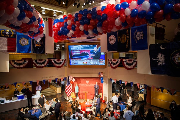 By 8 p.m., the Harvard Kennedy School Forum was filling up as the Institute of Politics hosted an Election Night gathering.