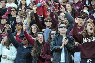 "Students cheer after a big Harvard play, but their enthusiasm was short-lived as Yale beat the Crimson 21-14 in the 133rd meeting of the two teams. ""Ultimately the loss gave way to a tacit appreciation and respect for the history that built this rivalry we enjoy each year,"" says Matthew DeShaw '18."