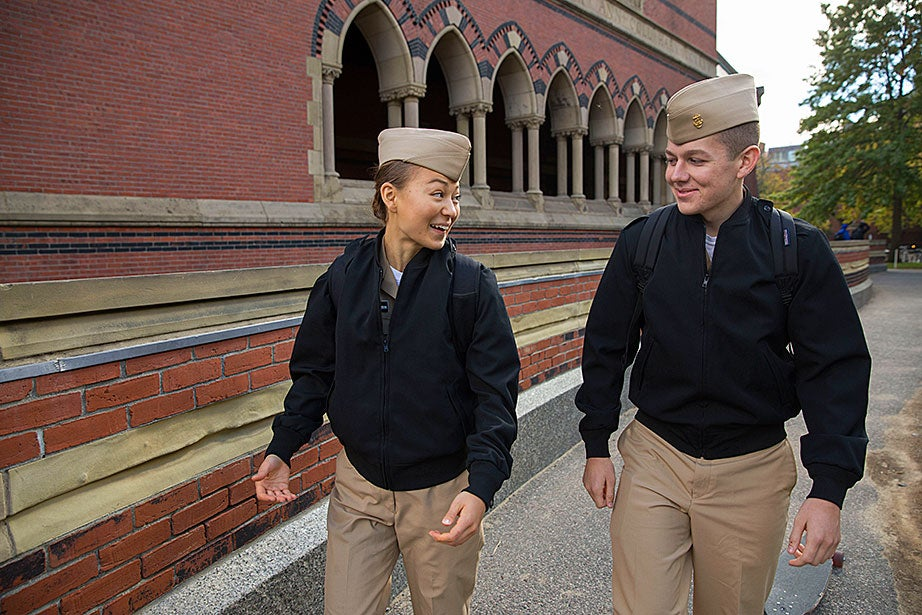 During an official military tour stop in Memorial Hall, where the University's war veterans are honored, Navy ROTC's Brendan Rodriguez '20 (right) and Katrina Hagedorn '20 discuss their goals.