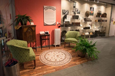 "A re-creation of a 1930s living room with the  radio taking center stage, much like modern living rooms are focused around a TV. The re-creation is part of  the exhibit ""Radio Contact: Tuning In to Politics, Technology & Culture,"" in the Collection of Historical Scientific Instruments' Special Exhibition Gallery at the Science Center."