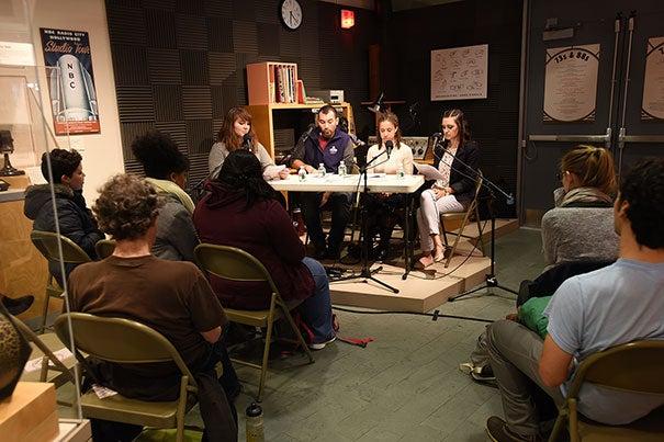 Dana Boebinger Ph.D. candidate; Michael Ruiz, Ph.D. candidate, Brittany Mayweather, Ph.D. candidate, and Rachel Hanebutt '16