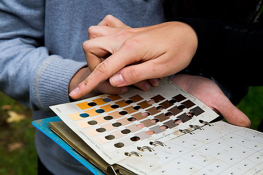 Detail of a soil color chart. Students try to match the actual color of the soil to a color in the chart to identify the soil depth and the corresponding age of any artifacts found.