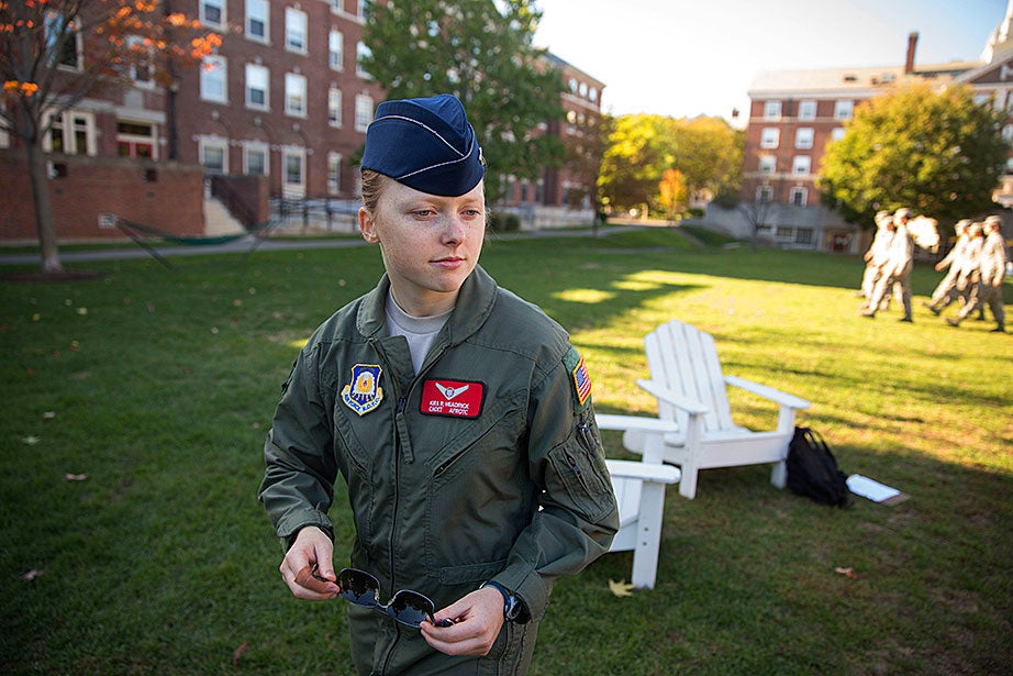 "For Kira Headrick '17, ""Holding this training at Harvard meant more than just the instruction itself. Last year marked the 100th anniversary of ROTC at Harvard, as well as the first recognition of Air Force ROTC by the University since the Vietnam War. With this recognition came the complete restoration of Harvard's relationship with all three branches of ROTC, and allowed Air Force ROTC to hold events on campus once more. More than just marching, this training was a tribute to past cadets who worked to unite their ROTC program and campus."""