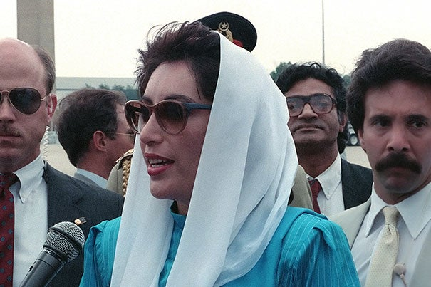 A new leadership program has been established to honor Benazir Bhutto, the late prime minister of Pakistan. She is pictured speaking to the press upon her arrival for a state visit at Andrews Air Force Base in 1988.