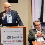 """Daniel Ziblatt (left), professor of government and resident faculty member at CES, spoke on the rise of nationalism in the Western world. """"A well-organized constitutional right is able to contain the far right within its ranks,"""" said Ziblatt. Also on the panel was Wolfgang Merkel, director of the Democracy and Democratization Research Unit, Berlin Social Center."""