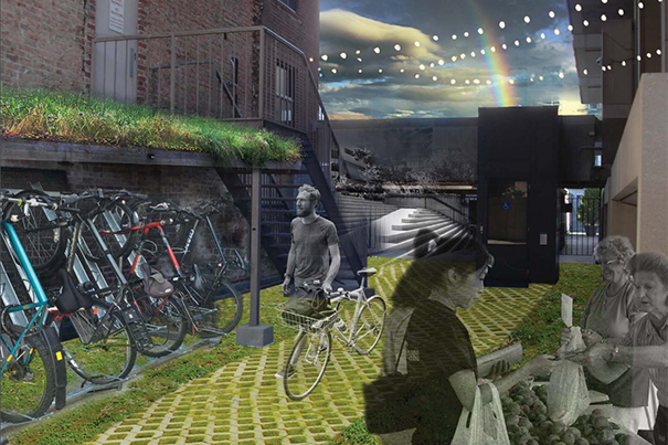 """A concept image from The Green Dream Team, winners of the Re(Design) Innovation Challenge. Their proposal, called """"The Countway CoLab,"""" envisions a community space that doubles as a sustainable garden and teaching space."""