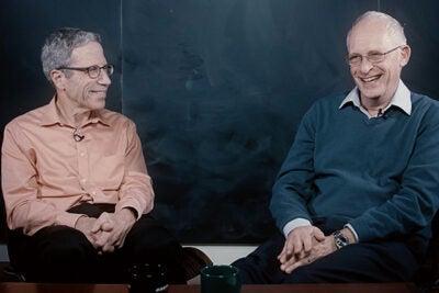 Harvard's Eric Maskin, Adams University Professor (left), and Oliver Hart, the Andrew E. Furer Professor of Economics, discuss life after winner a Nobel Prize.
