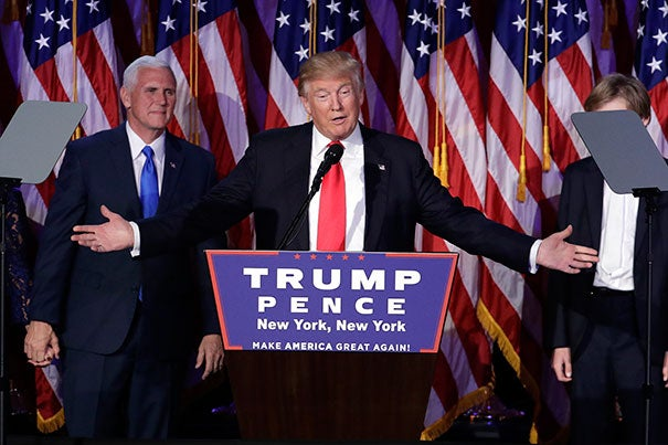 President-elect Donald Trump gives his acceptance speech during his election night rally, Wednesday, Nov. 9, 2016, in New York.