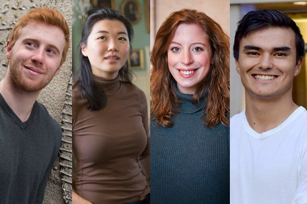 Spencer Dunleavy (from left), Nancy Ko,  Maia Silber, and Anthony Wilder Wohns were among the 32 American students named as Rhodes recipients.
