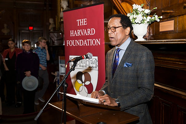 S. Allen Counter of the Harvard Foundation speaks at the unveiling of the portrait of Richard T. Greener, the first African-American to graduate from Harvard College, in Annenberg Hall. File photo by Jon Chase/Harvard Staff Photographer
