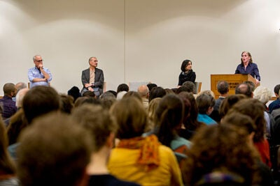 """Transforming Our Food System"" was the focus at a Harvard Law School discussion with panelists Mark Bittman (from left), Union of Concerned Scientists Fellow; Ricardo Salvador, Union of Concerned Scientists Food and Environment program director; Emily Broad Leib, HLS director of the Food Law and Policy Clinic; and Kat Taylor, co-CEO of Beneficial State Bank."
