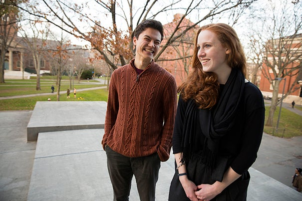 Reylon Yount '17 (left) and Maille Radford '17 have been awarded Marshall Scholarships, which will support their studies in the United Kingdom for the next two years. Both will pursue two one-year graduate programs in the arts.
