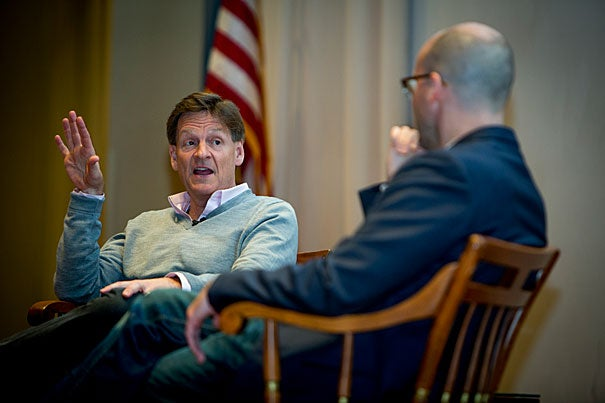 """Author Michael Lewis (left) speaks about his new book """"The Undoing Project"""" with Michael Norton, Harold M. Brierley Professor of Business Administration, which traces the 40-year relationship between Israeli-American psychologists Daniel Kahneman and Amos Tversky, who pioneered the social psychology study of decision making."""