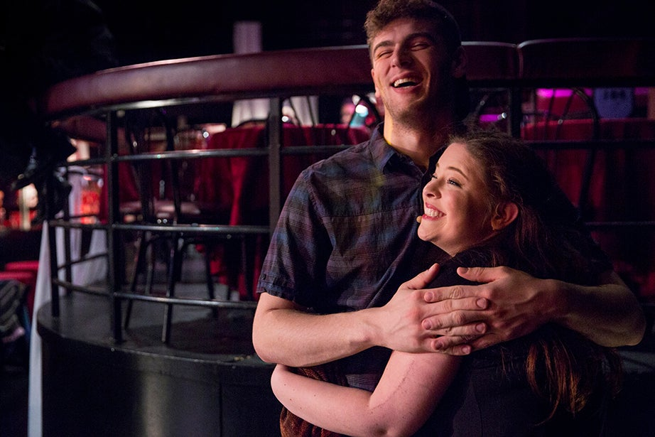 Director Jake Stepansky and Madi Deming share a moment during a short break.