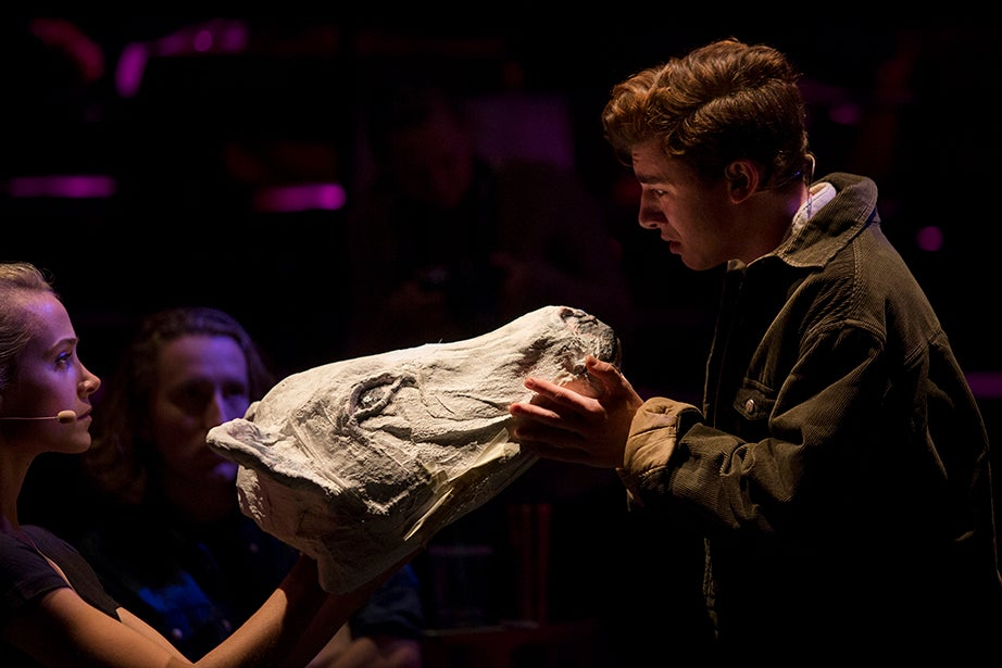 Jack, Eli Troen, sings a heartfelt goodbye to his closest friend and cow, Milky White. The cow mask was designed and created by the Harvard-Radcliffe Drama Club prop design team, led by Rachel Harner and Ian Power.