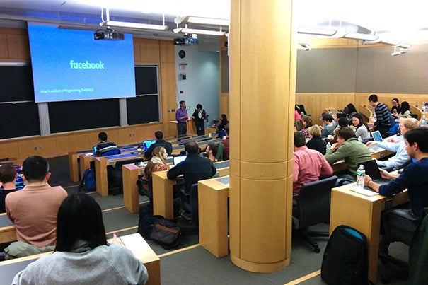 Facebook Vice President of Engineering Regina Dugan speaks during a visit to Harvard's Office of Technology Development on Nov. 7. Harvard is among 17 academic institutions that have signed on to Facebook's Sponsored Academic Research Agreement.