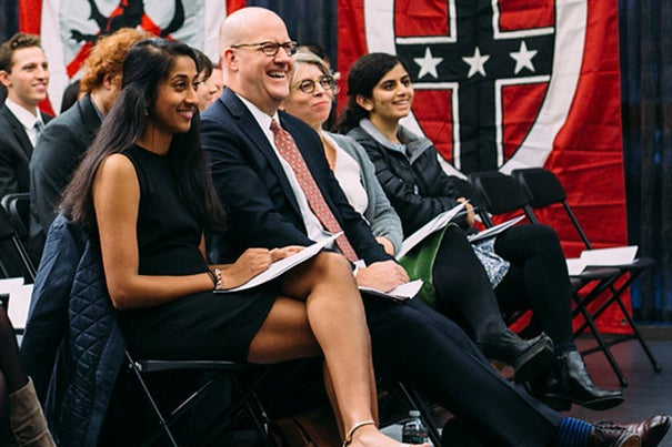 Class of 2017 First Marshal Riya N. Patel '17 (left) and Program Marshal Avni Nahar '17 (far right) flank Harvard Alumni Association Executive Director Philip Lovejoy and David Woods Kemper '41, Professor of American History Jill Lepore at the Midyear Graduates Recognition Ceremony on December 2, 2016. Photo by Will Halsey
