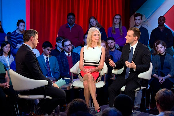 "A special taping of CNN's ""State of the Union with Jake Tapper"" was staged at the Kennedy School, where the anchor and audience members engaged with Kellyanne Conway (left) and Robby Mook, campaign managers for Donald Trump and Hillary Clinton, respectively."