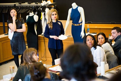 "Jeannie Suk Gersen (left), John H. Watson Jr. Professor for Law, and Nana Sarian, general counsel for Stella McCartney, taught a nine-day course, titled ""Fashion Law Lab,"" during the winter term."