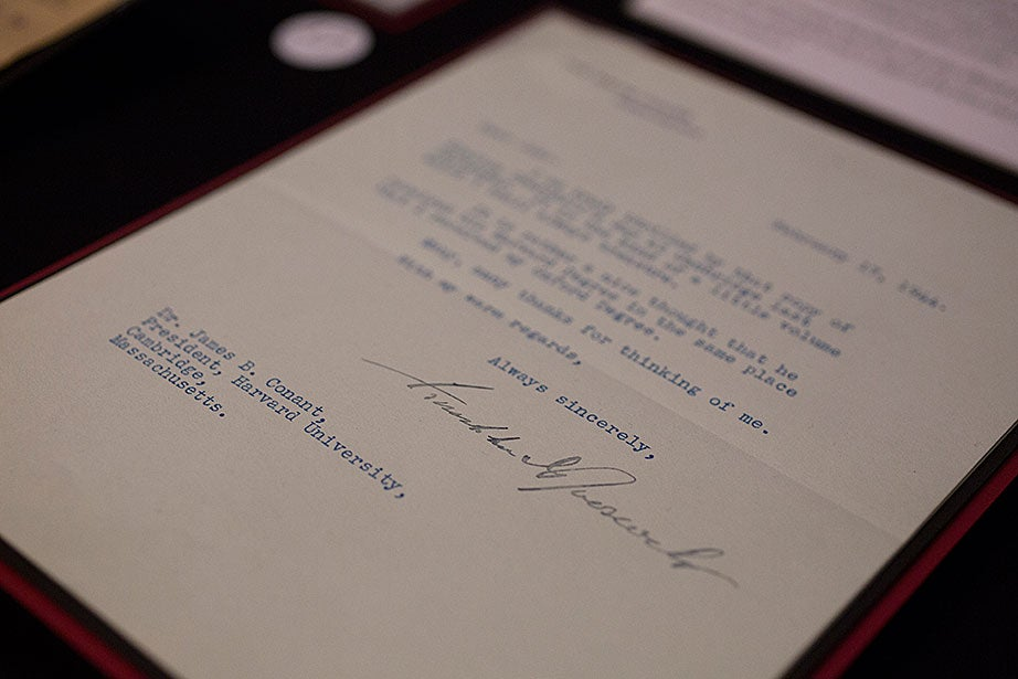 A letter from Franklin D. Roosevelt to Harvard President James B. Conant dated Feb. 7, 1944. Roosevelt wrote to express his pleasure that British Prime Minister Winton Churchill had been award an honorary degree from Harvard in 1943.
