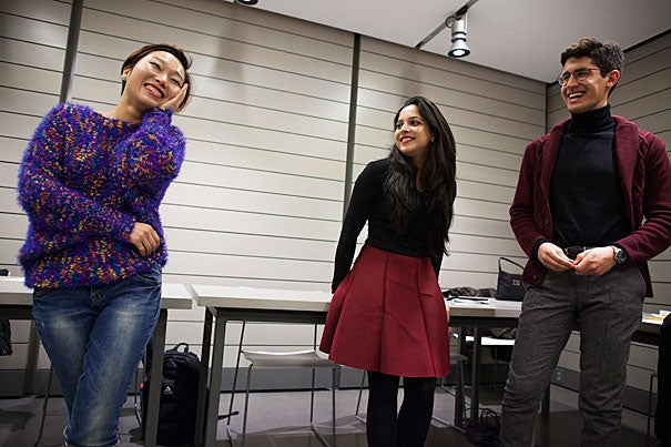 Arts, Creativity and Medicine is a Wintersession class led by Harvard Medical School faculty, residents and medical students who are also practicing artists and musicians. The workshops and discussions take place in the Harvard Art Museums. Cecile Deng HLS '18 (from left), Avanti Nagral '20, and Dogus Mordenic '20 participate in a movement study. Stephanie Mitchell/Harvard Staff Photographer