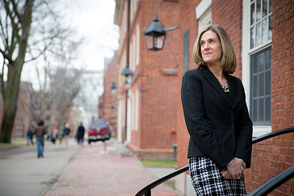 """Harvard College Dean of Students Katherine O'Dair, who leads the Office of Student Life, has been busy experiencing the campus lifestyle since her arrival in the fall. """"We're really here to help students to engage with each other and the campus community ... to help [them] have the best out-of-classroom experience that they can."""""""