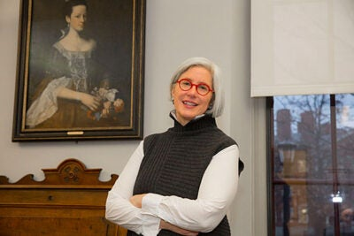 "Harvard historian Jane Kamensky discusses her new book, ""A Revolution in Color: The World of John Singleton Copley,"" about the iconic artist's divided loyalties during the Revolution. Copley's portrait of Dorothy Murray hangs in her office in Radcliffe's Schlesinger Library."