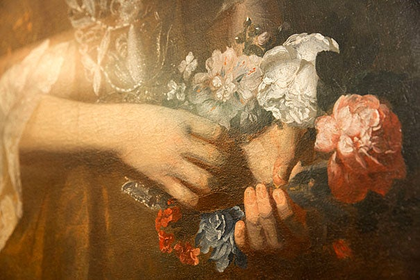 A closeup of Dorothy Murray's hands. Kris Snibbe/Harvard Staff Photographer
