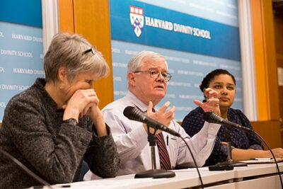 Diane Moore (left), senior lecturer in religious studies and education, and Dudley Rose, associate dean of ministry studies, discuss the state of religious freedom after President Trump's executive order prohibiting travel from seven predominantly Islamic countries as moderator Aisha Ansano, M.Div. '16, listens in.