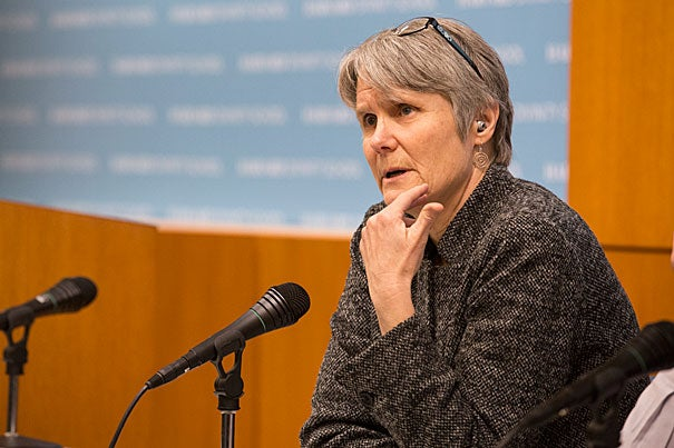 The State of Religious Freedom, a talk at Harvard Divinity School between Diane Moore, Senior Lecturer in Religious Studies and Education (pictured), and Dudley Rose, Associate Dean, Ministry Studies, in the Sperry Room of Andover Hall. Jon Chase/Harvard Staff Photographer