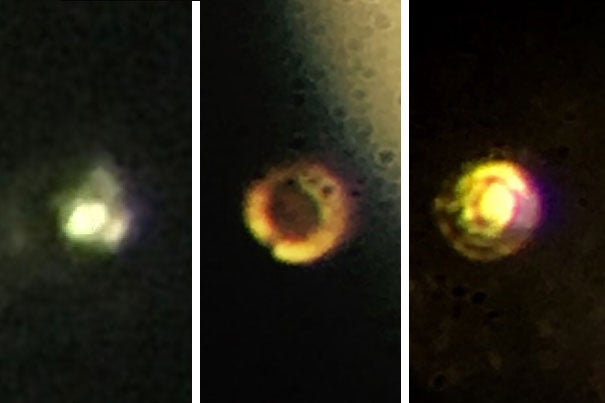 Microscopic images of the stages in the creation of atomic molecular hydrogen: Transparent molecular hydrogen (left) under about 200 gigapascals (GPa) of pressure, which becomes black molecular hydrogen, and finally reflective atomic metallic hydrogen at 495 GPa.
