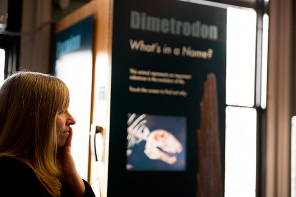 """""""Whats in a name"""" kiosks have debuted at the Harvard Museum of Natural History. Jane Pickering HMSC executive director, led the discussion. Rose Lincoln/Harvard Staff Photographer"""