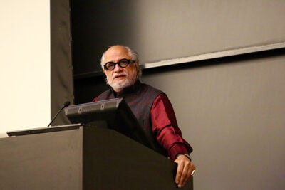 "Homi K. Bhabha, Anne F. Rothenberg Professor of the Humanities and director of the Mahindra Humanities Center at Harvard, delivers a keynote titled ""Contemporary Reflections on the Humanities"" during the sixth annual National Collegiate Research Conference."