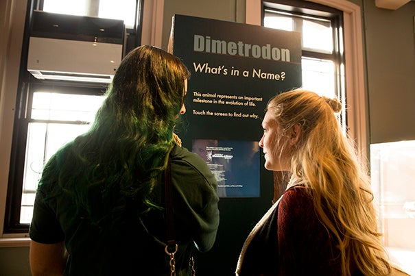 "Ashley Fox (left) and Casey Lonabocker check out one of the four kiosks in the exhibit ""What's in a Name?"" at the Harvard Museum of Natural History. The exhibit's purpose is to clear up visitors' confusion of scientific names through images, information, stories, and games."