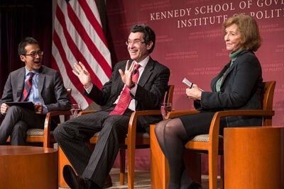 "Kennedy School Academic Dean Archon Fung (from left) moderates the panel discussion between Norman Eisen, Brookings Institution fellow, and Mary Graham, co-director of the Transparency Policy Project at HKS, during ""Presidential Secrecy from Washington to Trump,"" which examined the history of transparency — or the lack thereof — in the executive branch."