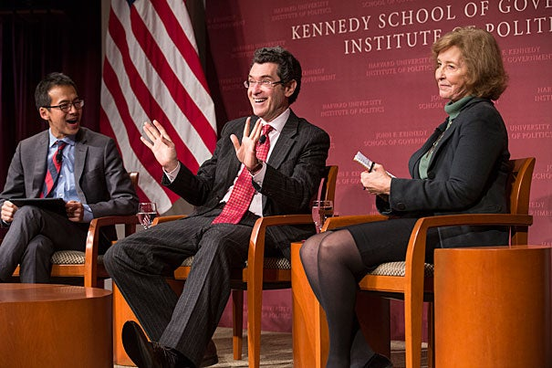 """Kennedy School Academic Dean Archon Fung (from left) moderates the panel discussion between Norman Eisen, Brookings Institution fellow, and Mary Graham, co-director of the Transparency Policy Project at HKS, during """"Presidential Secrecy from Washington to Trump,"""" which examined the history of transparency — or the lack thereof — in the executive branch."""