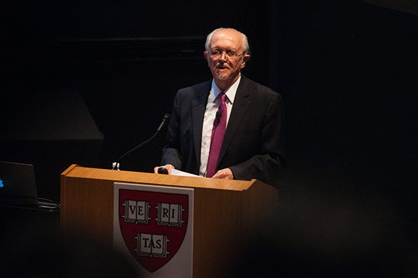 """Nobel laureate Mario Molina told his Harvard audience that the U.S. appears closer to taking the """"business as usual"""" path of increasing carbon dioxide emissions rather than making the cuts needed to avoid dangerous global temperature increases."""