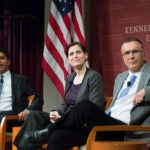 """Amitabh Chandra (left), Malcolm Wiener Professor of Social Policy, listens to an audience question with panelists Katherine Baicker, C. Boyden Gray Professor of Health Economics, and Jonathan Gruber, Ford Professor of Economics at MIT, during """"Alternatives to the Affordable Care Act,"""" where experts offered multiple options to repair or replace the embattled legislation."""