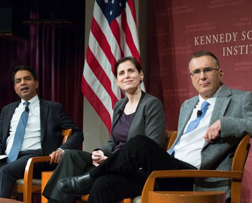 "Amitabh Chandra (left), Malcolm Wiener Professor of Social Policy, listens to an audience question with panelists Katherine Baicker, C. Boyden Gray Professor of Health Economics, and Jonathan Gruber, Ford Professor of Economics at MIT, during ""Alternatives to the Affordable Care Act,"" where experts offered multiple options to repair or replace the embattled legislation."