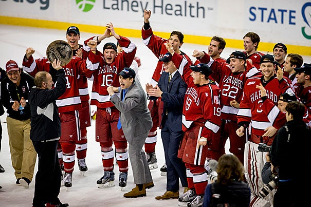 Harvard men's hockey celebrated its first Beanpot Championship in 24 years with a 6-3 win against Boston University at the TD Garden on Monday night.