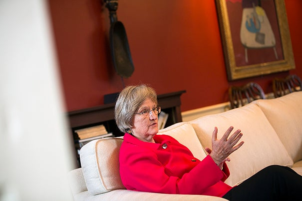 President Drew Faust discussed Harvard's ongoing commitment to acknowledging and understanding the grimmer aspects of its long-ago ties with slavery.