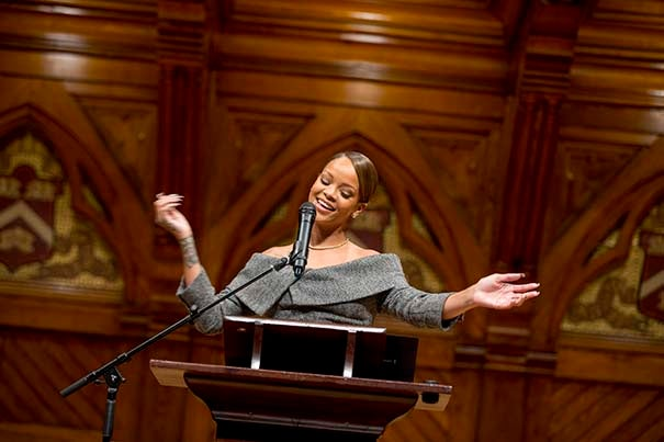 """""""I know that each and every one of you can help someone else,"""" Rihanna told the crowd at Sanders Theatre. """"All you need to do is help one person, expecting nothing in return. To me, that is a humanitarian."""""""