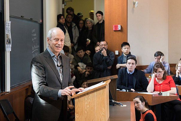 "In his lecture titled ""Why Trump? What Now?"" Michael Sandel, Anne T. and Robert M. Bass Professor of Government, argued that though his vitriolic campaign rhetoric often took precedence in media coverage, ""Donald Trump tapped into a wellspring of anxieties and legitimate grievances, to which the mainstream parties offered no compelling answers."""