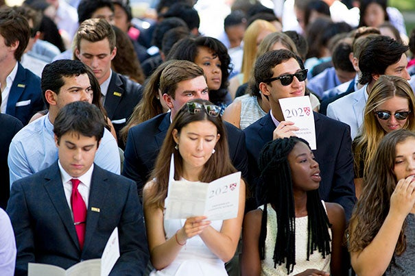 Harvard University freshman start their time at Harvard in Tercentenary Theatre for Convocation and an official welcome from Drew Faust president of Harvard University.