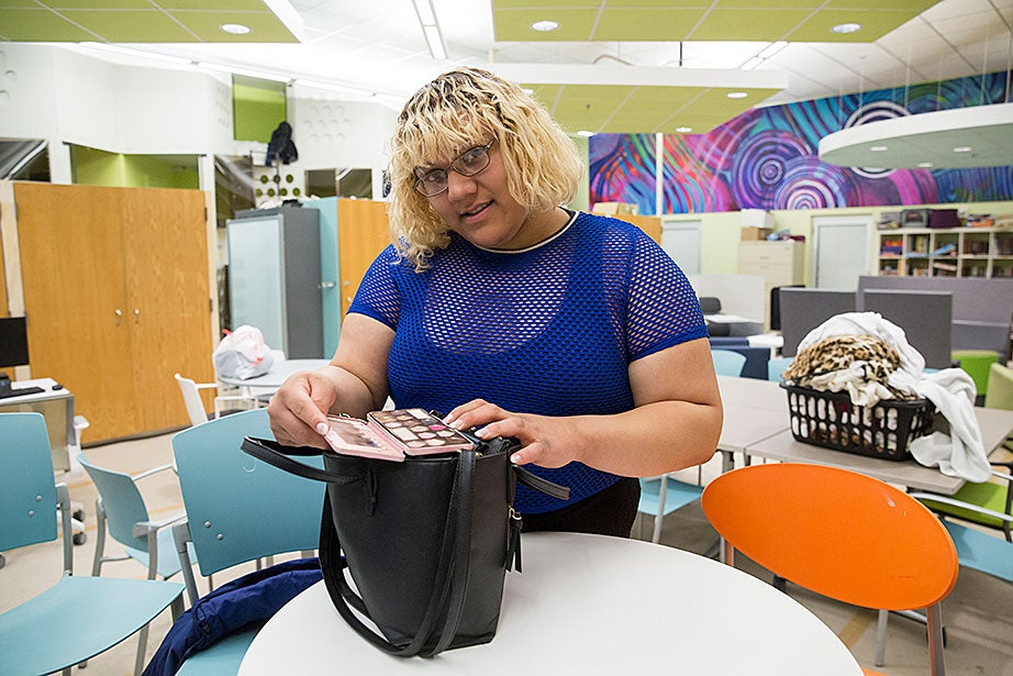 Guest Eva D. stands in the Y2Y shelter common space. She experienced domestic violence in her home. Eva, who is transgender, is very active on the part of LBGTQ and homeless youth. She currently works at a call center for several political and advocacy nonprofit organizations.