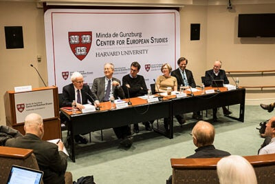 "At the ""What Can't Happen Here"" forum, panelists Charles Maier (from left), Derek Penslar, Peter E. Gordon, Mary D. Lewis, Terry Martin, and David Armitage agreed that while fascism is not sweeping the U.S., the country is disconcertingly vulnerable to authoritarianism."